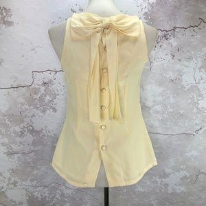 Britt Ryan Cream Silk Sleeveless Top w/Bow Back 2